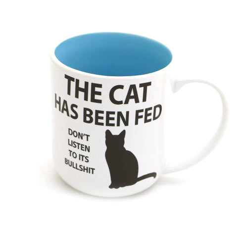 This funny cat mug makes a great gift for any cat lover. It reads: The Cat has Been Fed, Don't Lis