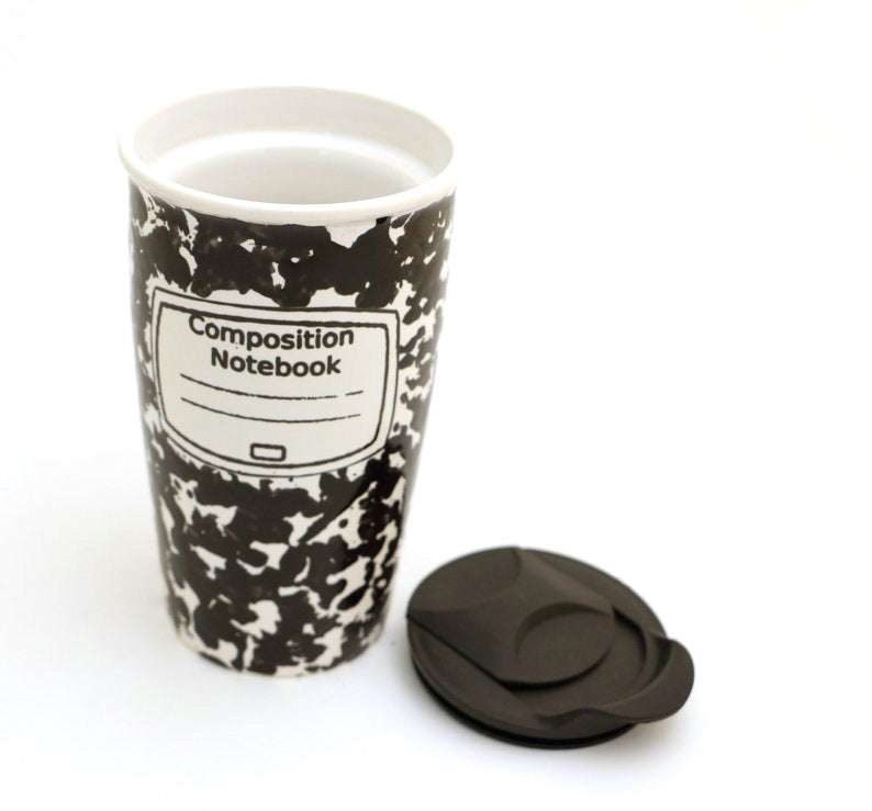 This travel mug in the design of the iconic composition notebook can be personalized if desired. M