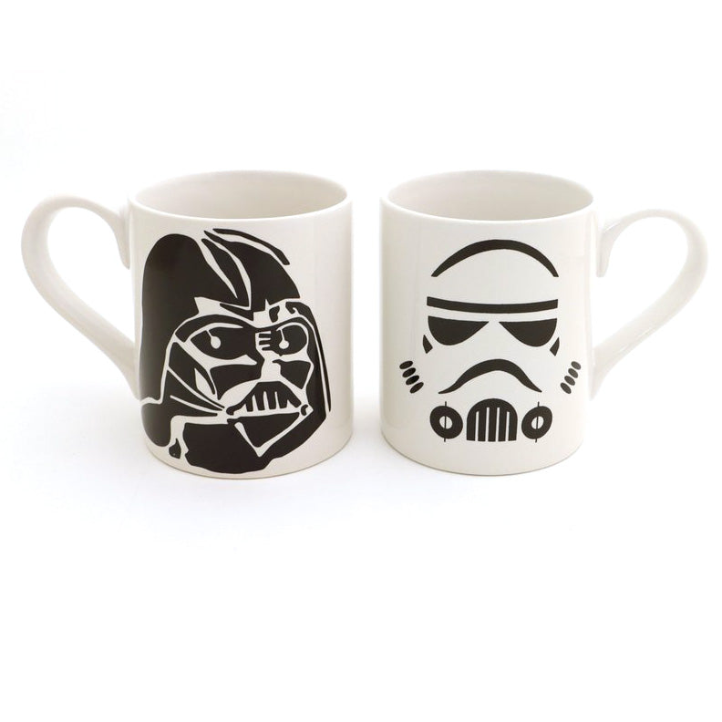 Don't let anyone be disappointed in your lack of Star Wars mugs. This set features Darth on one mu