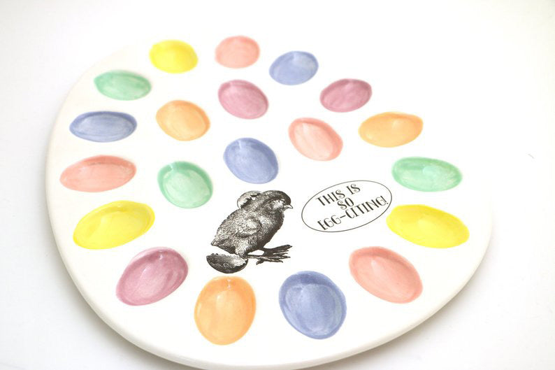 Easter Egg plate in white with pastel egg wells will make an excellent addition to your Easter holi
