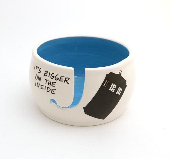 Doctor Who Yarn Bowl, Tardis, Bigger on the Inside, large yarn bowlBecause Yarn Bowls are cool. Jus