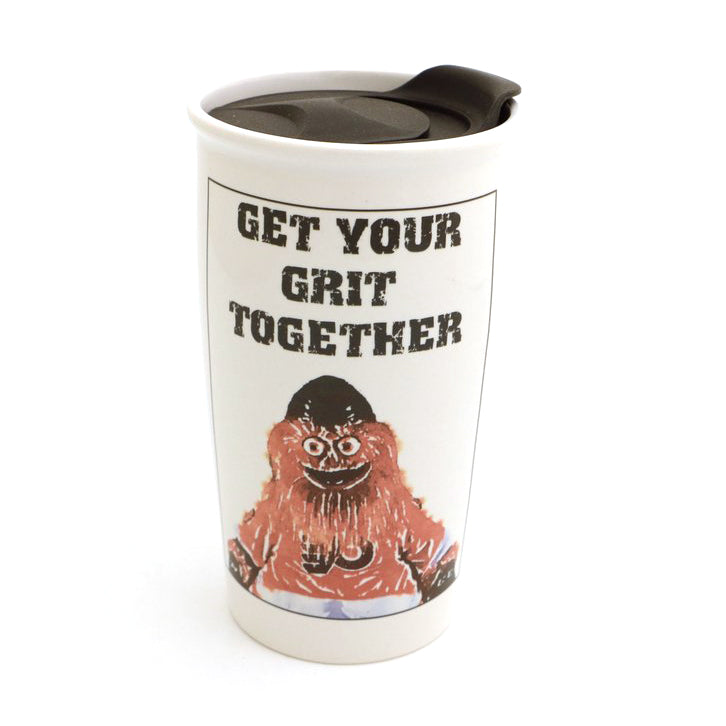 Gritty travel mug features everybody's favorite orange mascot and the text GET YOUR GRIT TOGETHER