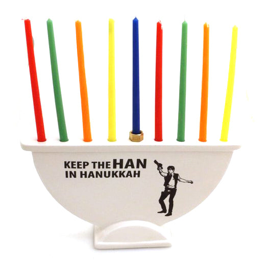 "Handmade ceramic menorah encourages you to ""Keep the HAN in Hanukkah"" - a one of a kind parody hom"