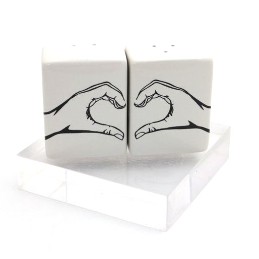 This Salt and Pepper set features two hands making a heart. A great gift for someone you love and