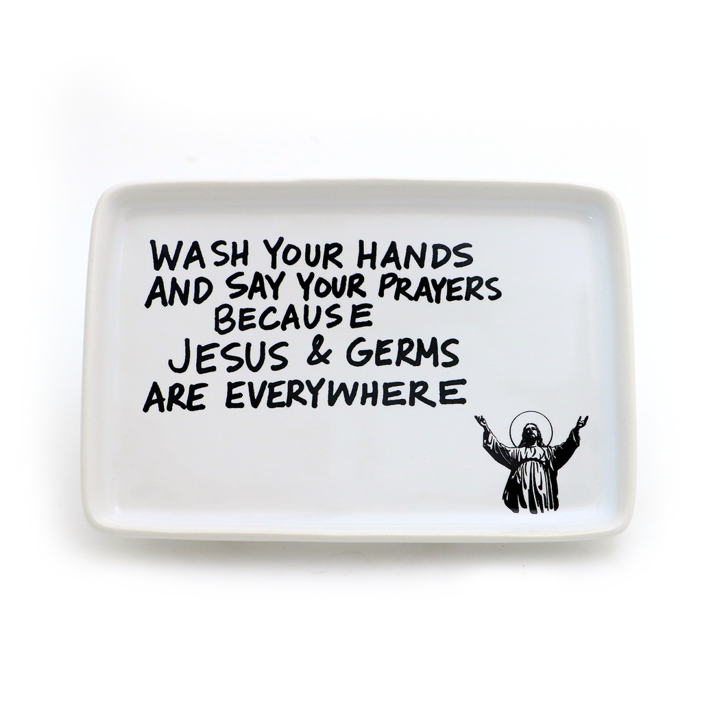 Jesus and Germs Soap Dish, funny soapdish, bathroom decor, LennyMud by Lorrie Veasey