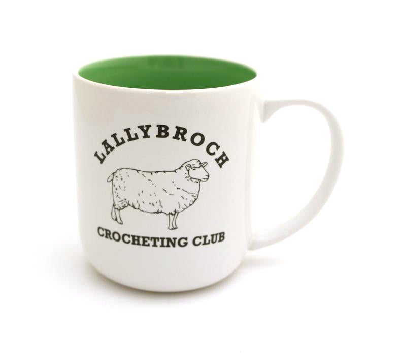Outlander fans will love this handmade large stoneware mug that reads Lallybroch CROCHET Club and