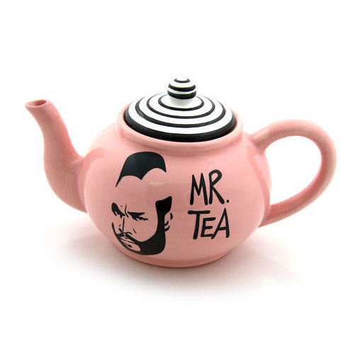 Handmade earthenware teapot with the image of Mr Tea on a glossy pink background-great gift for a t