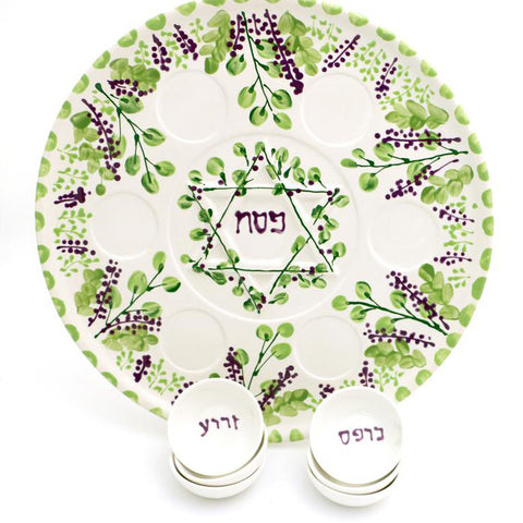 Lilac Seder Plate with Dishes