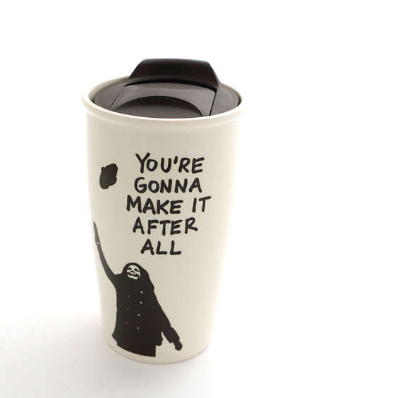 Mary Tyler Moore travel Mug - You're gonna make it after allWho can turn the world on with her smil