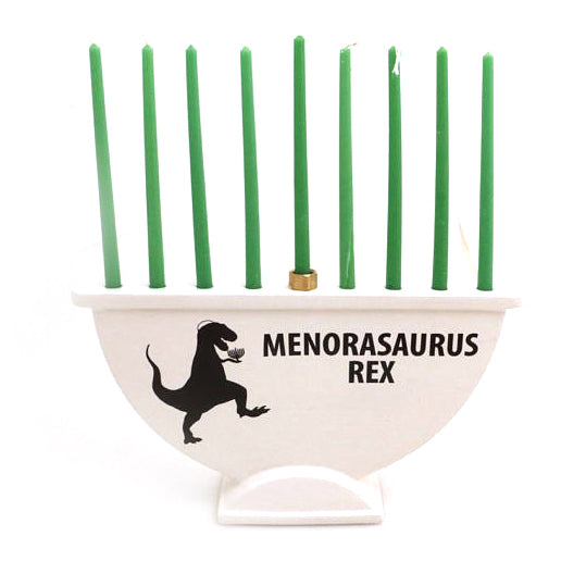 Dinosaur menorah- Menorasaurus Rex. RAWR means have a Happy Hanukkah! This is a one of a kind ceram
