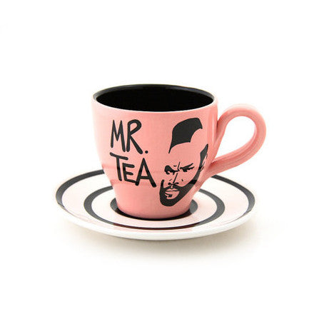 Mr. T Tea Teacup and Saucer in bubble gum pinkThis is a one of a kind teacup and saucer set featuri