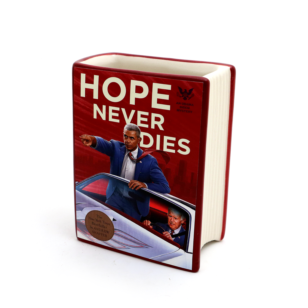 Obama and Joe Hope Never Dies Book pencil holder, vase, gift for reader