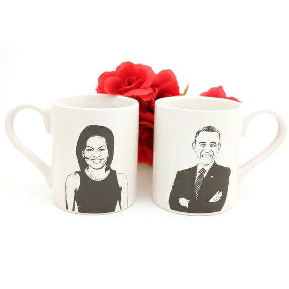 This pair of handmade mugs celebrates my deep love of the 44th President and his amazing wife. Let