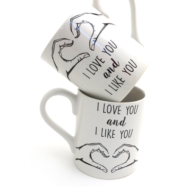 Parks and Recreation fans will love this mug set tribute to Ben and Leslie. Each mug reads I love