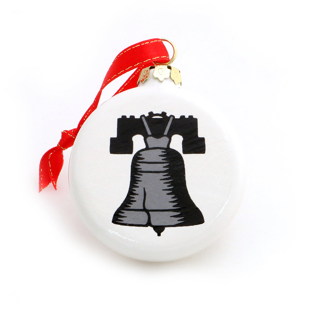 Handmade ceramic Christmas ornament features my homage to the Liberty Bell- back reads SILVER BELLS