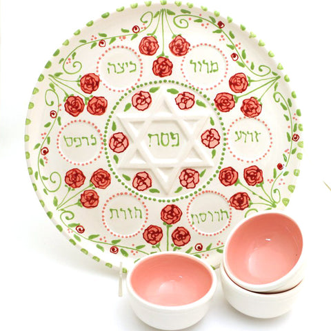 Pink Roses Seder Plate with Dishes