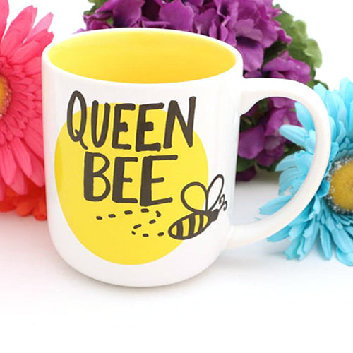 "Queen Bee Mug. Back reads : I AM VERY BUZZY while whimsical honeybees make it extra ""fly"".  Great"