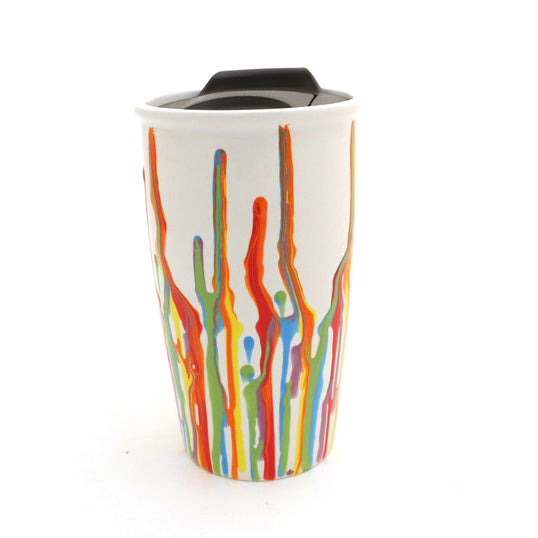Rainbow drips decorate this ooak ceramic travel mug - a one of a kind piece of functional art wor