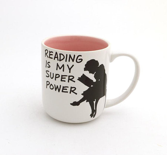 Reading is my Super Power Mug- Pink InteriorPerfect gift for a Book lover. This handmade stoneware