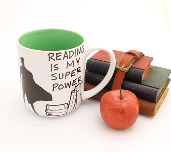 Reading is my Super Power Mug with male in cape- great teacher gift Perfect gift for a Book lover