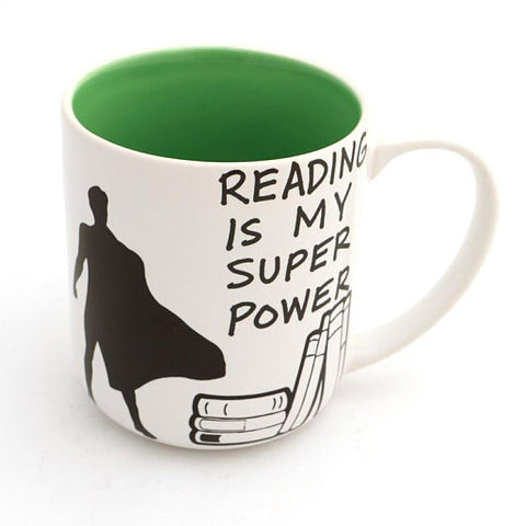 Reading is My Superpower Mug - Green Inside
