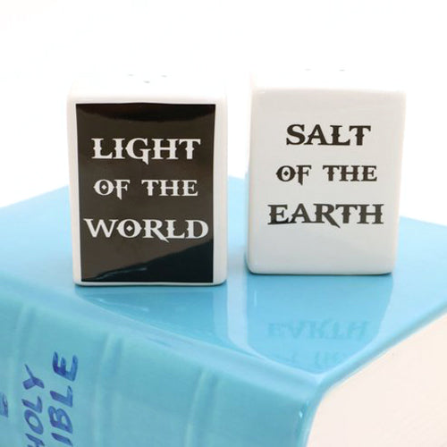 Salt and Pepper set reads LIGHT OF THE WORLD and SALT OF THE EARTH - a reference to Mathew 5:13-1