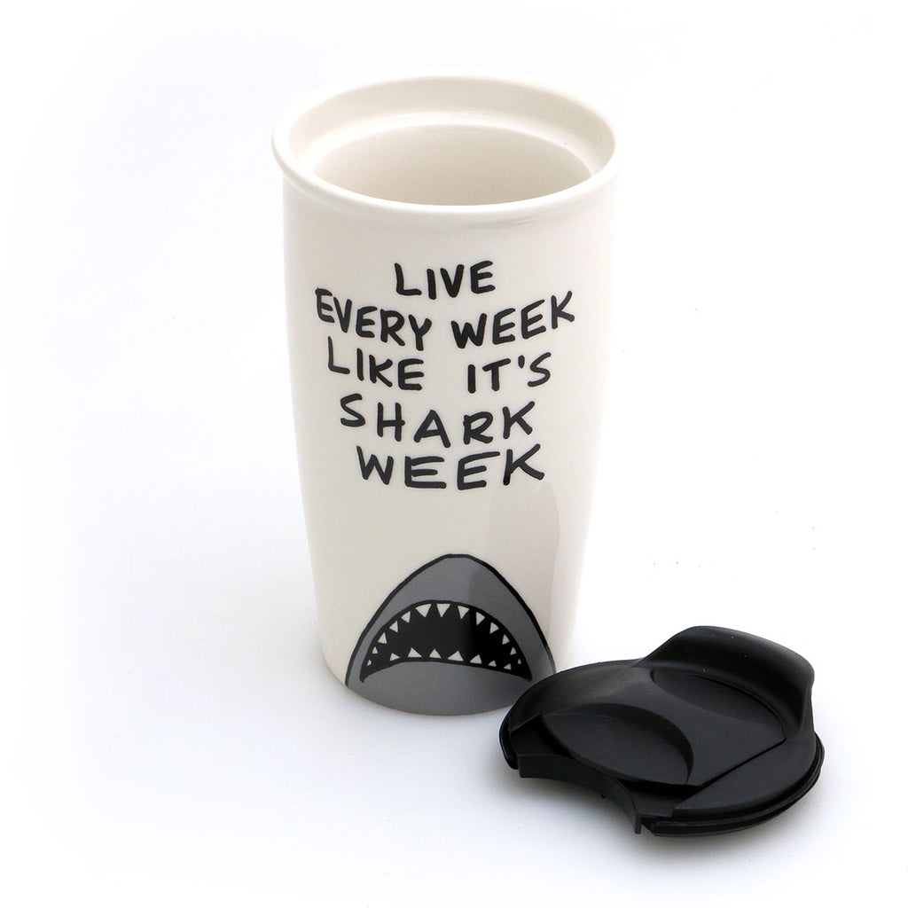 LIVE EVERY WEEK LIKE IT'S SHARK WEEK! Grab life by the fin with this travel mug that reminds you to