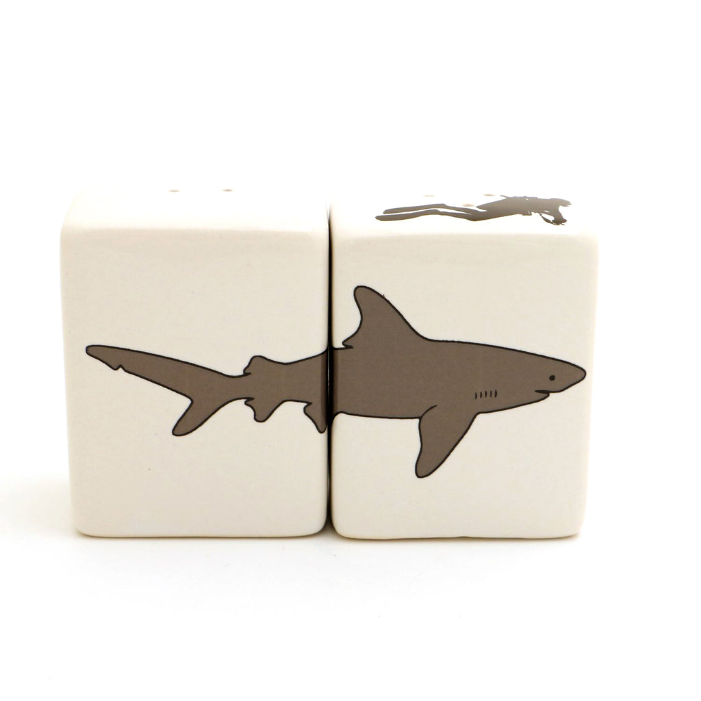 Shark salt and pepper set with scuba diver