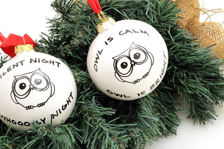 Christmas Ornament Owl is calm, owl is brightOne of a kind handmade ceramic Christmas Ornament feat
