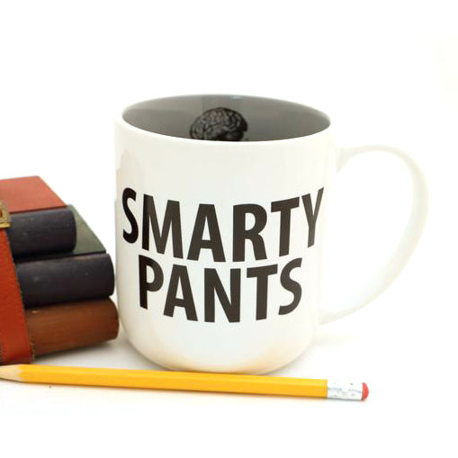 Smarty Pants mug. Great gift for a teacher, graduate, or nerdy intellectual. Features text on the