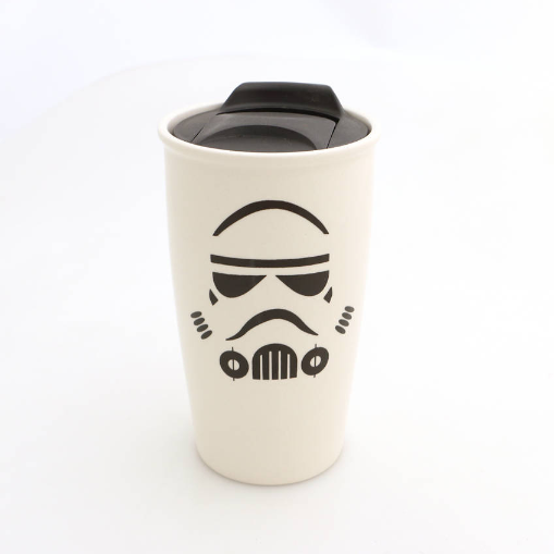 This is the travel mug you are looking for! Featuring my homage to the iconic trooper from the best