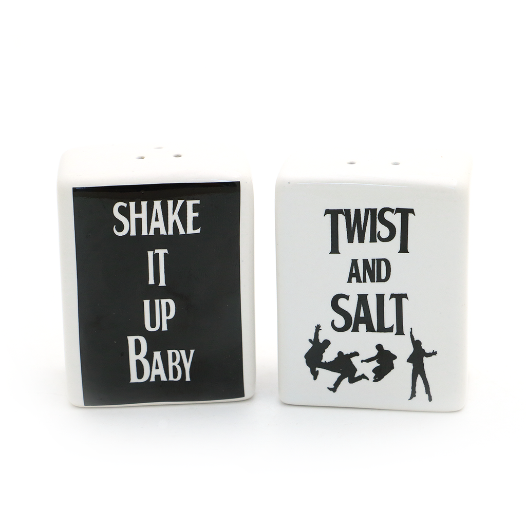 Beatles parody salt and pepper shakers read SHAKE IT UP BABY and TWIST AND SALT.  My tribute to t