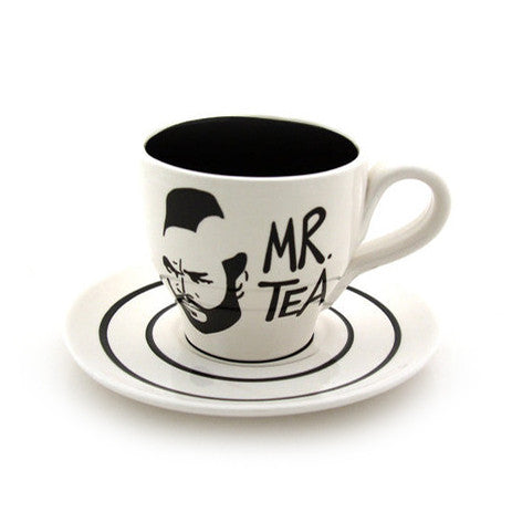 White Mr. T Teacup and Saucer - Handmade in the USA