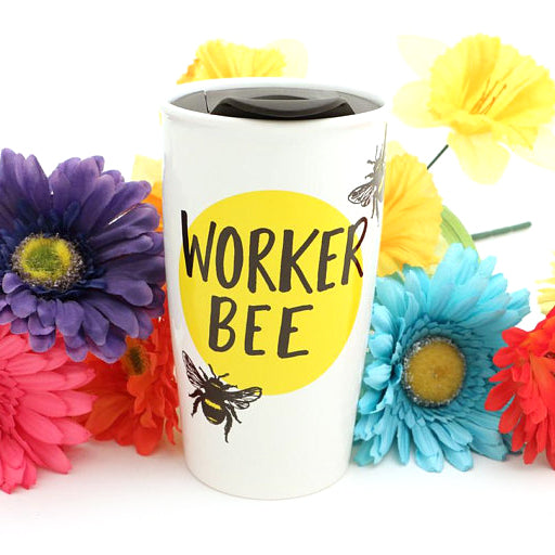 Worker Bee - large ceramic travel mug. Back reads: I AM VERY BUZZY. Great gift for a beekeeper or
