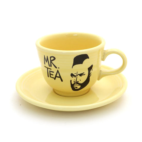 Yellow Vintage Upcycled Mr. Tea Cup and Saucer