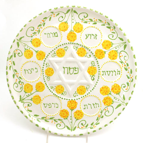 Yellow Floral Seder Plate with Bowls