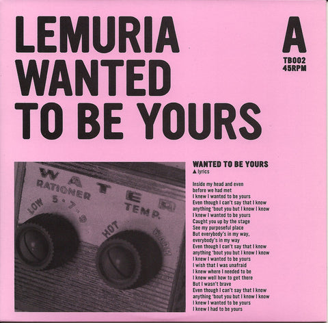 "Lemuria ""Wanted to Be Yours / Utah"" 7"""