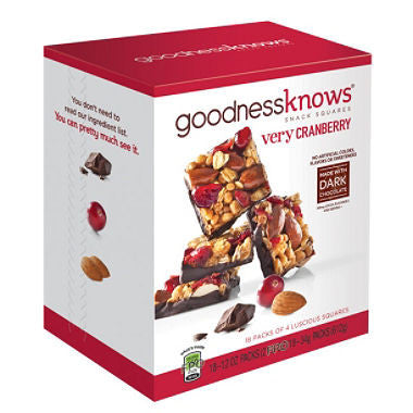 GoodnessKnows Cranberry Squares (18ct)