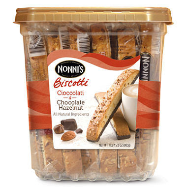 Nonni's Biscotti - Cioccolati & Chocolate Hazelnut, 1.33oz (25 ct)