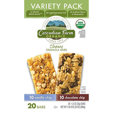 Cascadian Farms Organic Chewy Bars Variety (20ct)