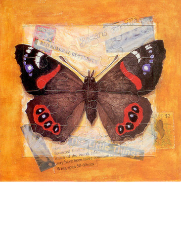 Red admiral jigsaw postcard