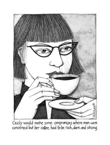 Cecily Tea Towel - Strong dark coffee