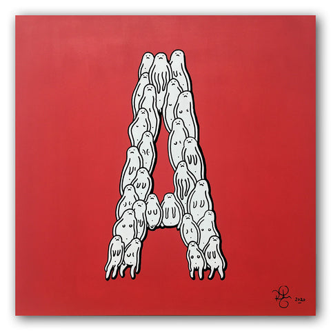'A' - Original Piece on Wooden Panel