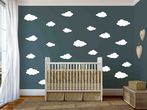 Set of 30 Clouds Vinyl Wall Decal