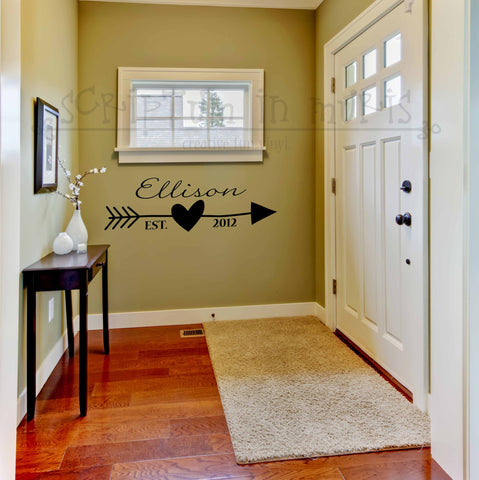 Monogram With Heart and Arrow Vinyl Wall Decal