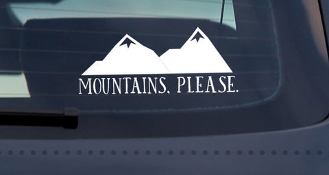 Mountains, Please Car Window Decal