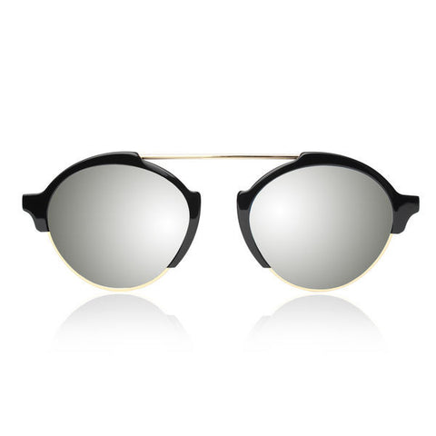 Illesteva Milan III black w/ silver mirrored lenses