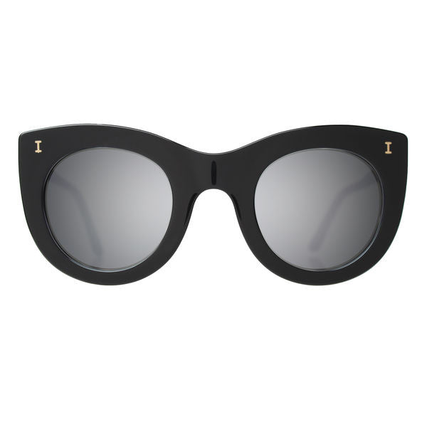 Illesteva boca sunglasses black with silver mirror lens