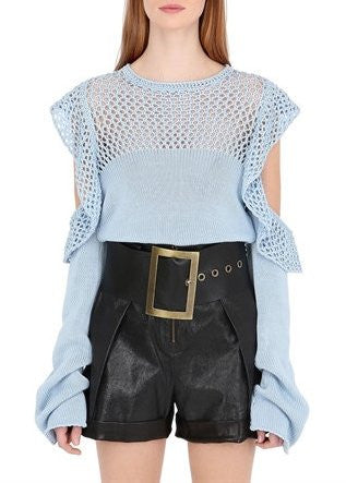 Philosophy di Lorenzo Serafini cut out shoulder sweater light blue