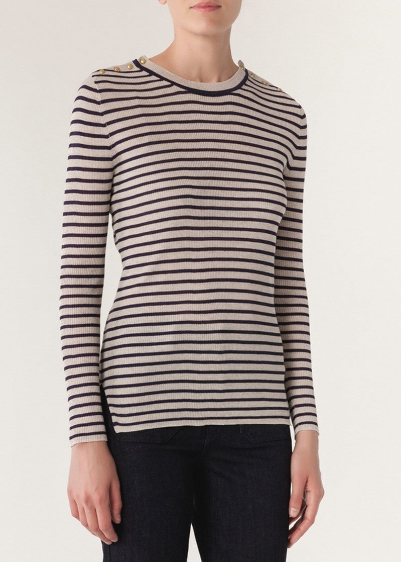 Vanessa Bruno Iroya sweater in ecru marine stripes